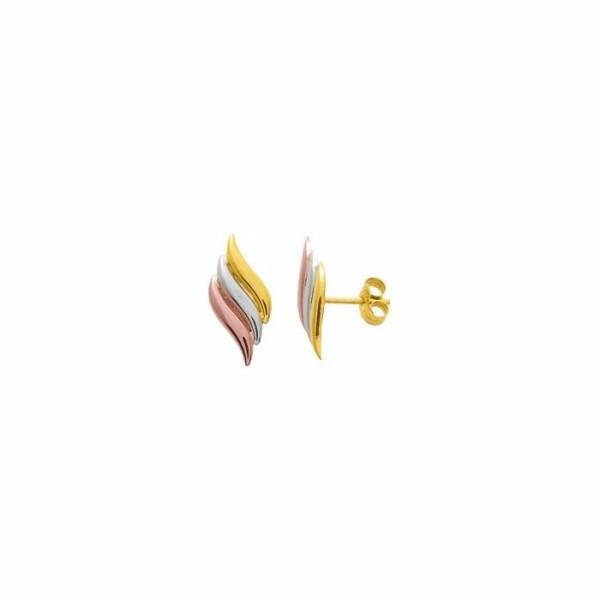 Boucles d'oreilles en or jaune, or blanc et or rose
