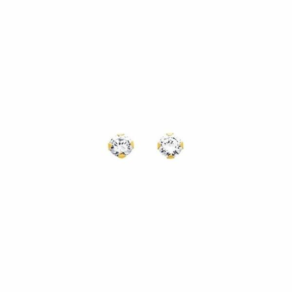 Boucles d'oreillles 4 griffres 5mm en or jaune et oxyde de zirconium