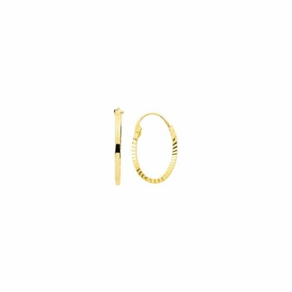 Boucles d'oreilles créoles diamantées ovales en or jaune
