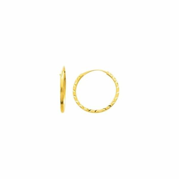 Boucles d'oreilles créoles diamantées en or jaune