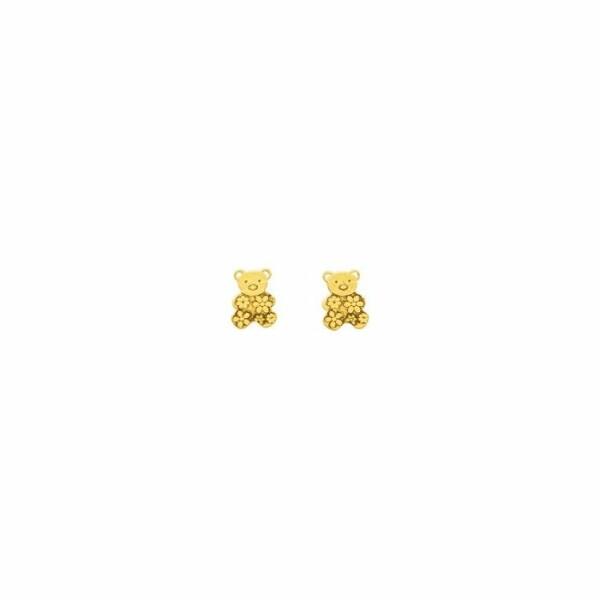 Boucles d'oreilles ourson en or jaune