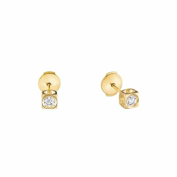 Boucles d'oreilles dinh van Le Cube Diamant en or jaune et diamants moyen modèle
