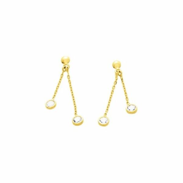 Boucles d'oreillles pendantes en or jaune et oxyde de zirconium