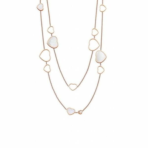 Sautoir Chopard Happy Hearts  en or rose et nacre et diamants