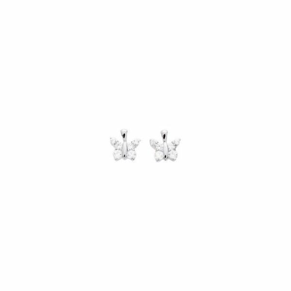 Boucles d'oreillles en or blanc et oxyde de zirconium