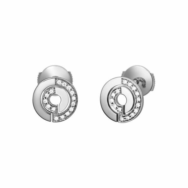 Boucles d'oreilles dinh van Seventies en or blanc et diamants