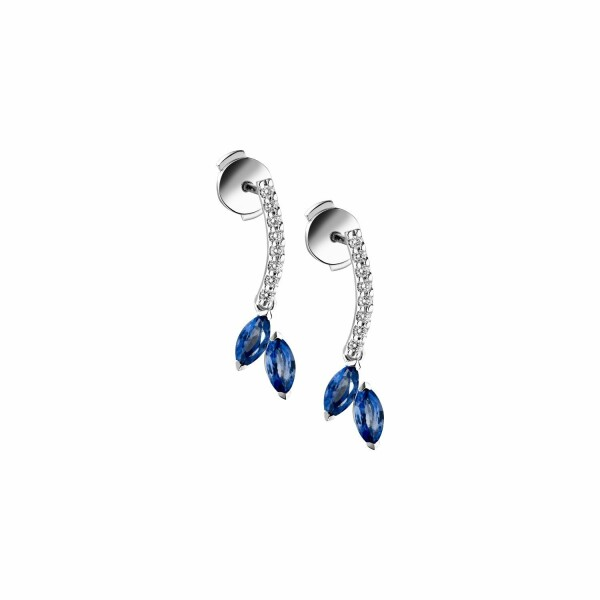 Boucles d'oreilles Garden Party Symphonie en or blanc, saphir bleu et diamants