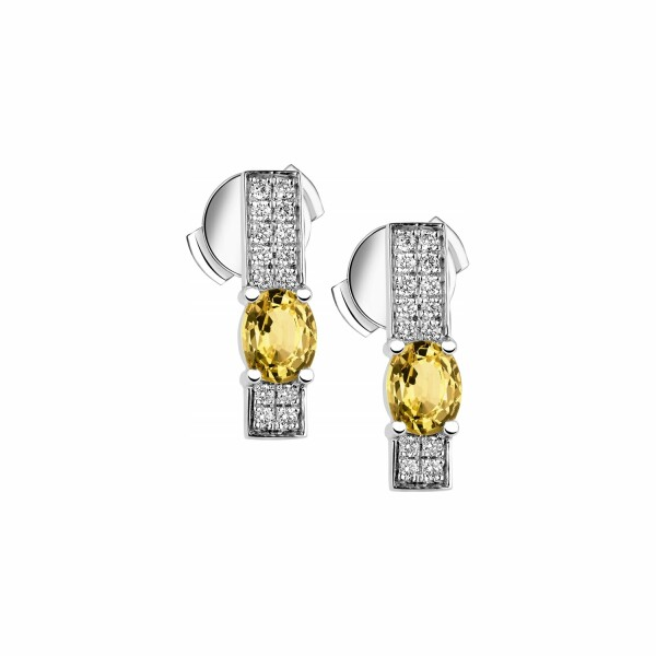 Boucles d'oreilles Garden Party Symphonie en or blanc, saphir jaune et diamants