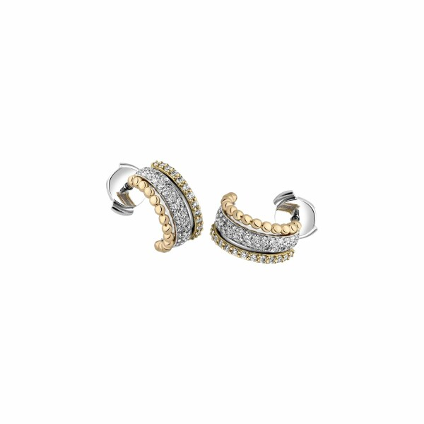 Boucles d'oreilles Garden Party Ivresse en or blanc, or jaune, or rose et diamants