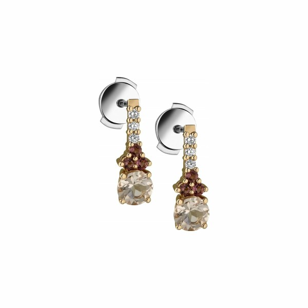 Boucles d'oreilles Garden Party Rendez-vous en or rose. morganite. tourmalines et diamants