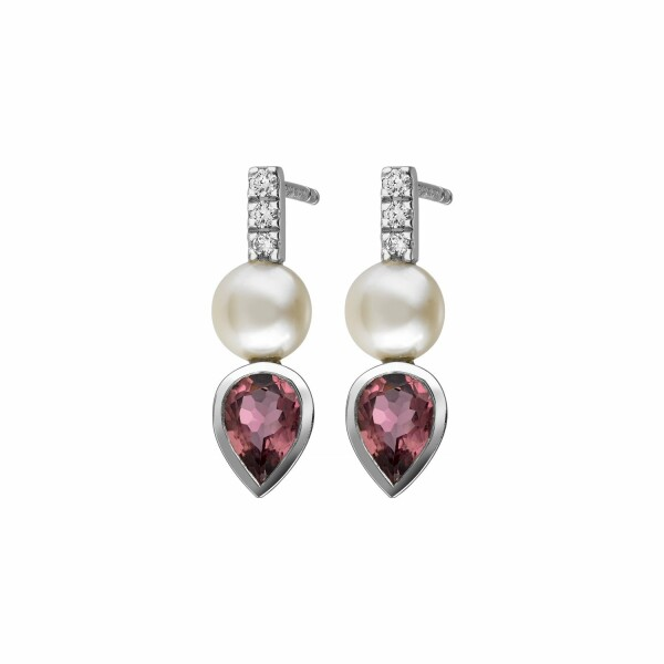 Boucles d'oreilles Garden Party Rendez-vous en or blanc. diamants. toumalines rose et perles Akoya