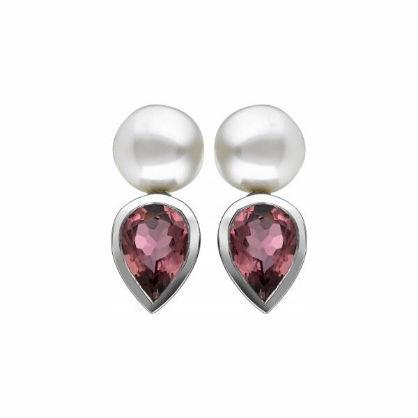 Boucles d'oreilles Garden Party Rendez-vous en or blanc. toumaline rose et perle Akoya