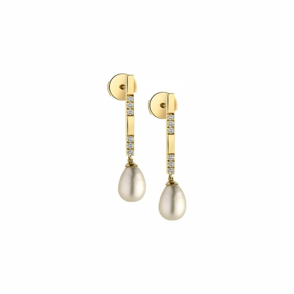 Boucles d'oreilles Garden Party Éclat en or jaune, perles et diamants