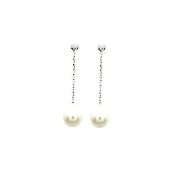Boucles d'oreillles pendantes perle de culture