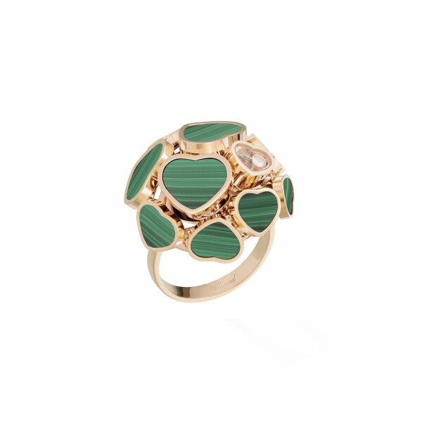 Bague Chopard Happy Hearts en or rose, diamant et malachite
