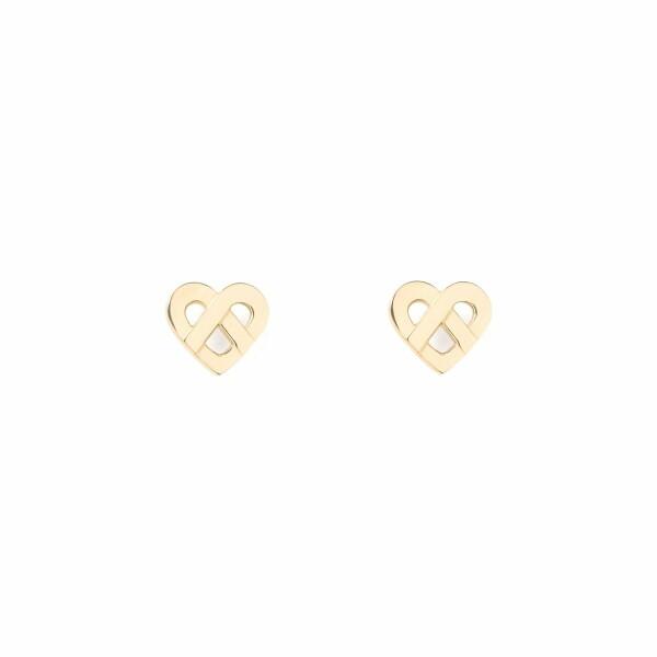 Boucles d'oreilles Poiray Coeur Entrelacé  en or jaune
