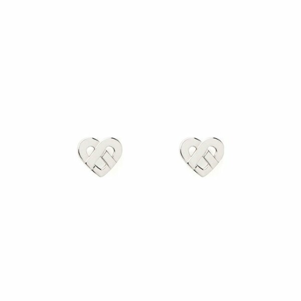 Boucles d'oreilles Poiray Coeur Entrelacé  en or blanc