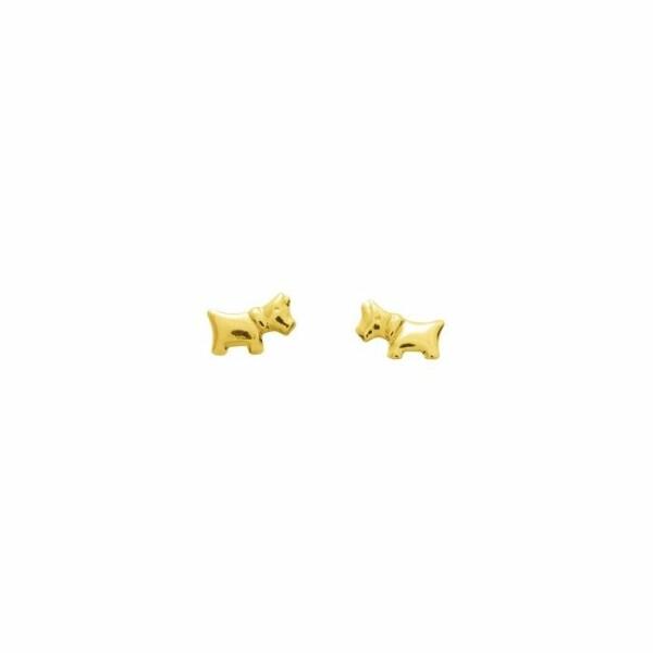 Boucles d'oreilles chien en or jaune