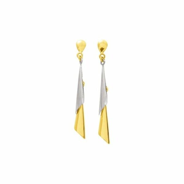 Boucles d'oreillles pendantes en or blanc et or jaune