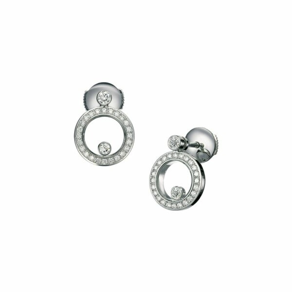Boucles d\'Oreilles Chopard Happy Diamonds en or blanc et diamants