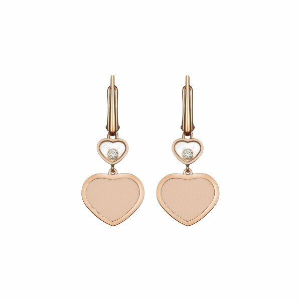 Boucles d'oreilles Chopard Happy Hearts en or rose, diamants et pierre rose