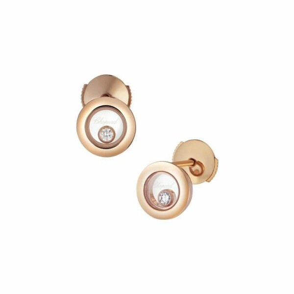 Boucles d'oreilles Chopard Happy Diamonds Icons en or rose et diamants