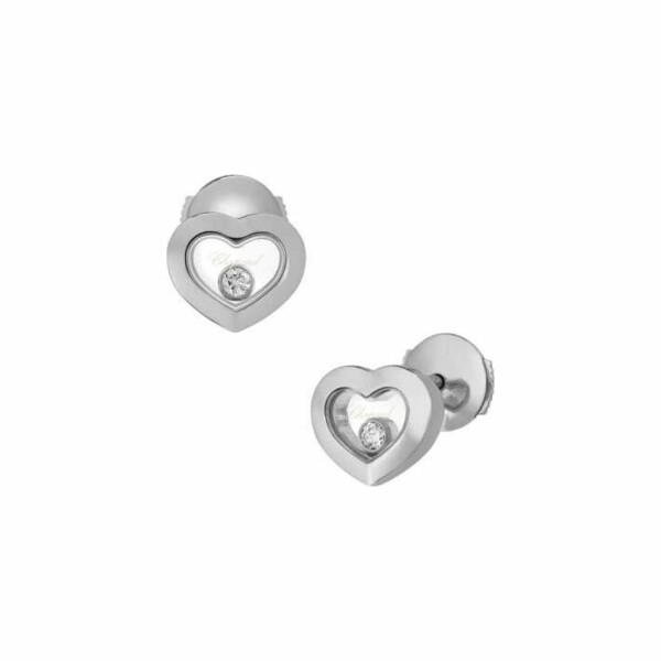 Boucles d'oreilles Chopard Happy Diamonds Icons en or blanc et diamants
