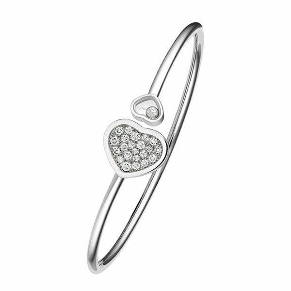 Bracelet Chopard Happy Diamonds Happy Hearts en or blanc et diamants