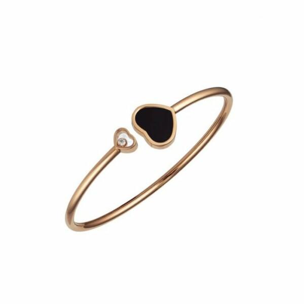 Bracelet Chopard Happy Hearts en or rose, onyx noir et diamant