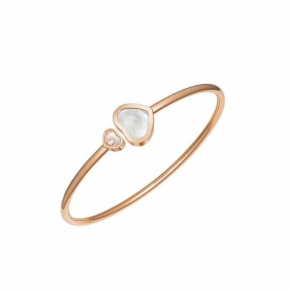 Bracelet Chopard Happy Hearts en or rose, nacre et diamant