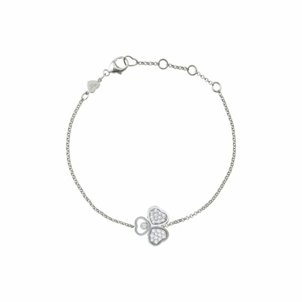 Bracelet Chopard Happy Hearts en or blanc et diamants