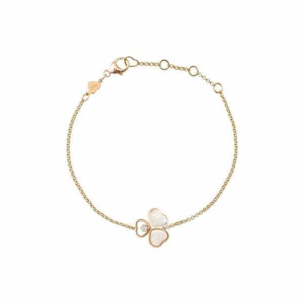 Bracelet Chopard Happy Hearts en or rose, diamant et nacre
