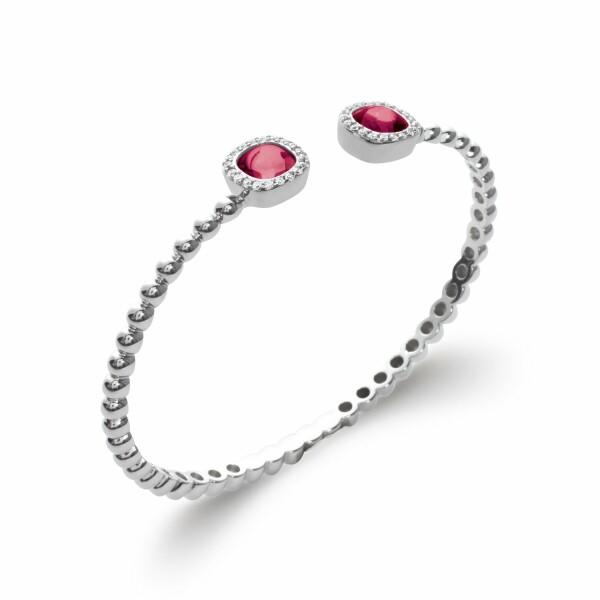 Bracelet en argent et pierres, longueur de 58cm