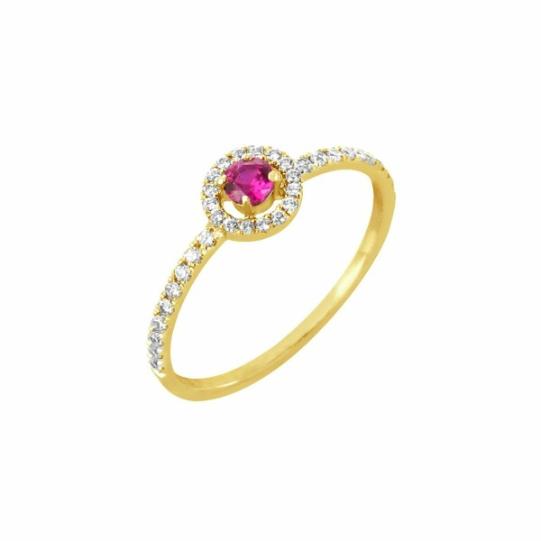 Bague en or jaune, diamants de 0.19ct et rubis de 0.14ct