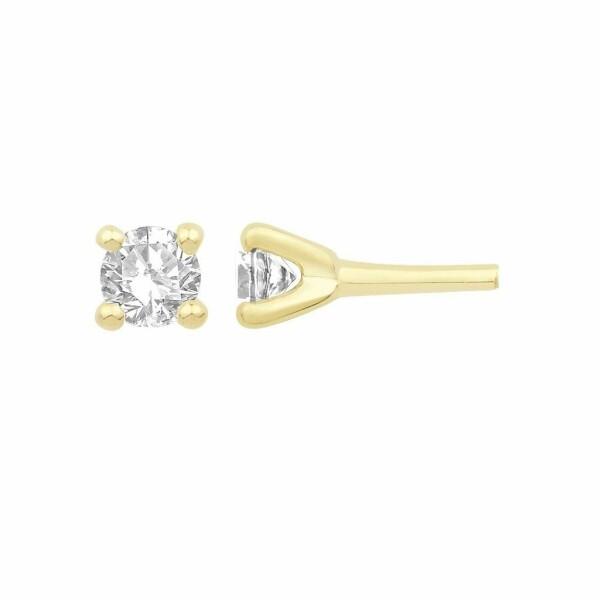 Boucles d'oreilles en or jaune et diamant de 0.22ct