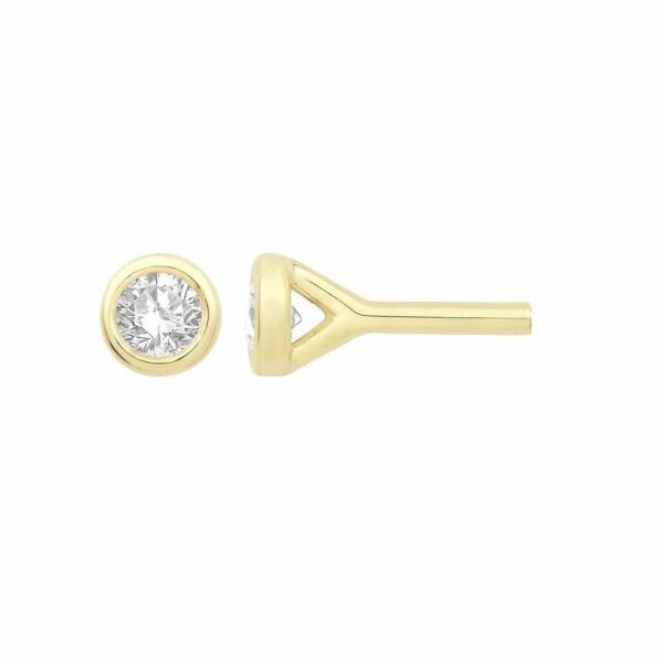 Boucles d'oreilles en or jaune et diamant de 0.12ct