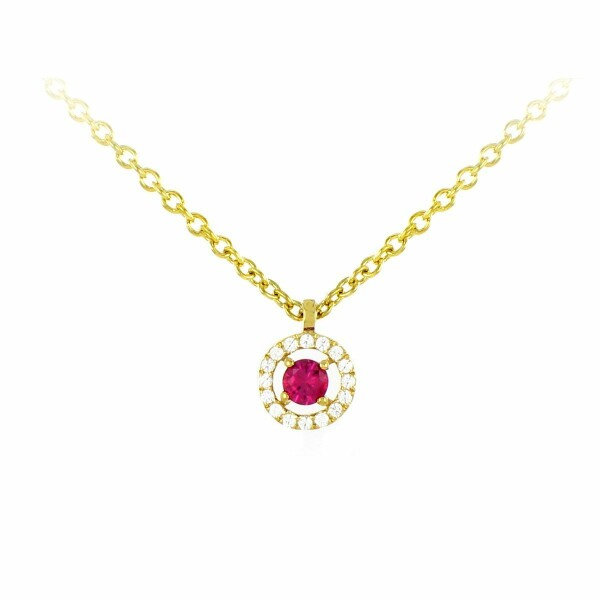 Collier en or jaune, diamants de 0.07ct et rubis de 0.15ct