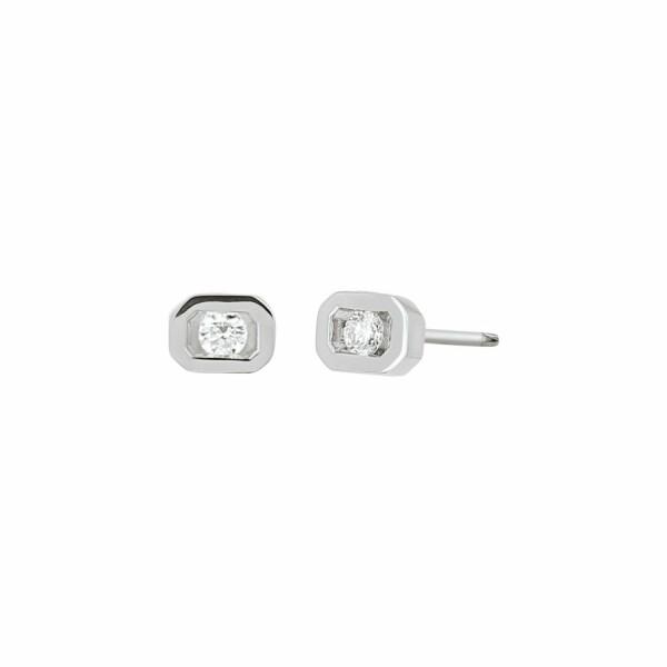 Boucles d'oreilles en or blanc et diamants de 0.12ct