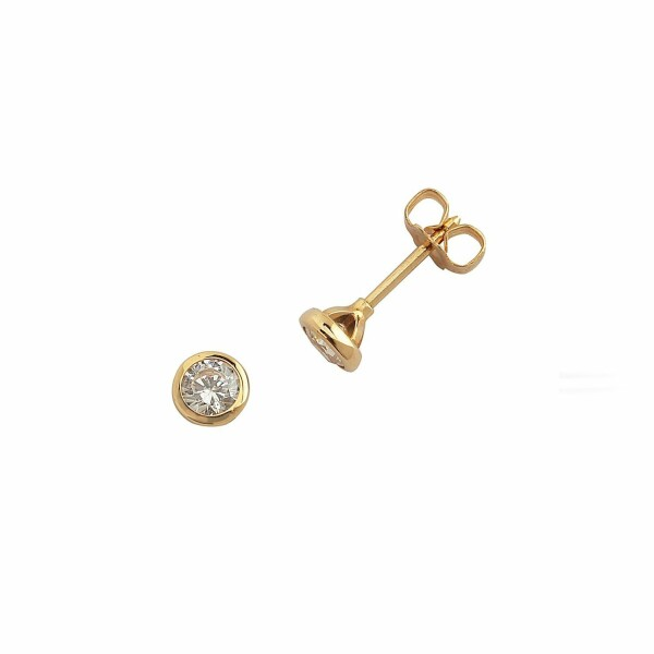 Boucles d'oreilles en or jaune et diamants GVS de 0.30ct