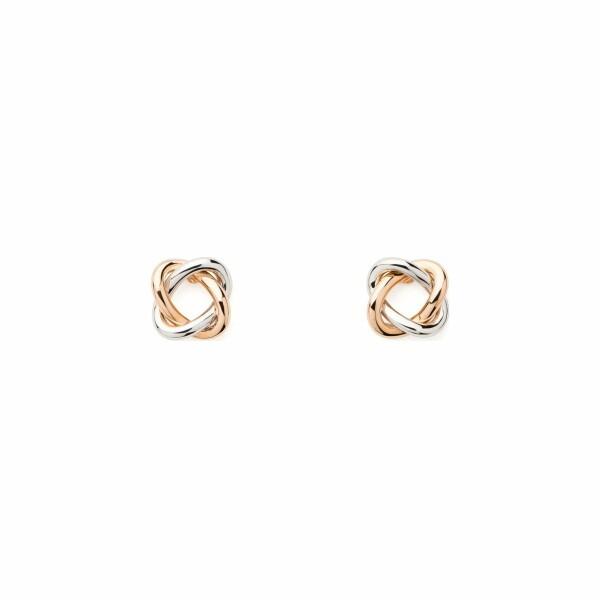 Boucles d'oreilles Poiray Tresse  en or rose et or blanc