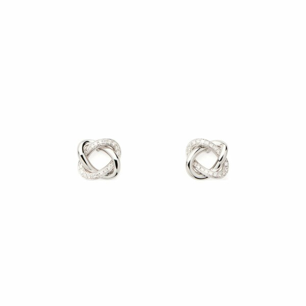 Boucles d'oreilles Poiray Tresse  en or blanc et diamants