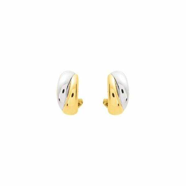 Boucles d'oreilles en or blanc rhodié et or jaune