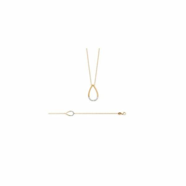 Collier en acier. plaqué or jaune et oxydes de zirconium, longueur de 18cm