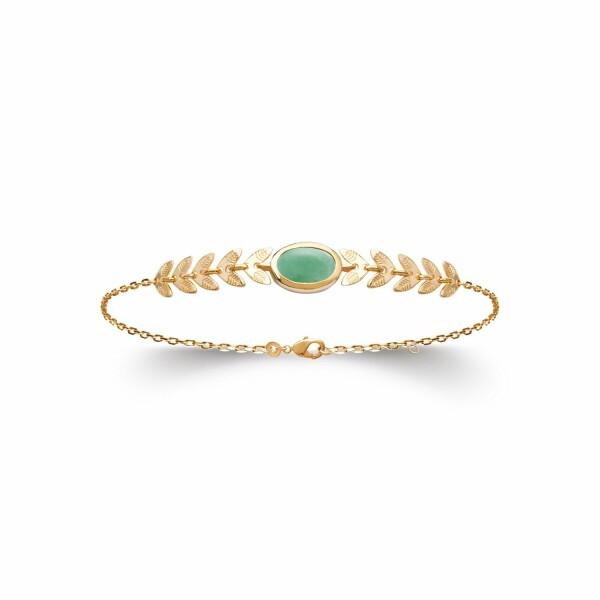 Bracelet en plaqué or jaune et aventurine, longueur de 18cm