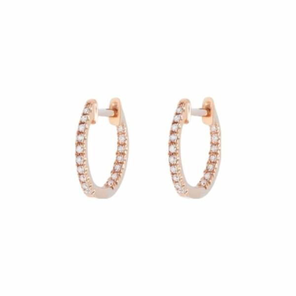 Boucles d'oreilles créoles Djula en or rose et diamants