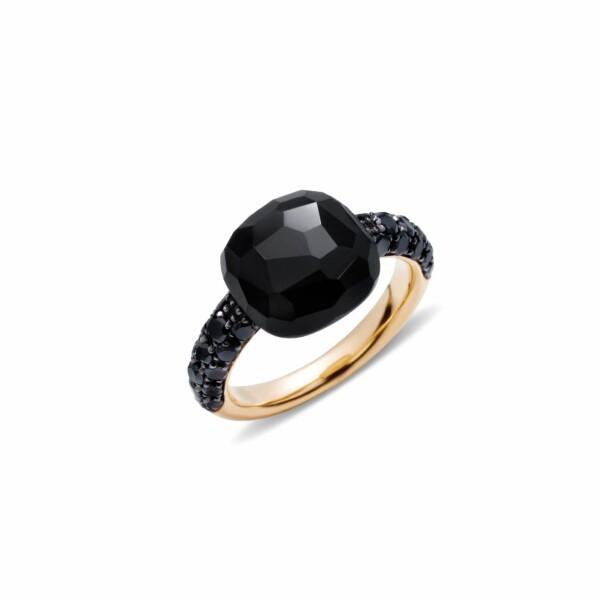 Bague Pomellato Capri en or rose, diamants noirs et onyx