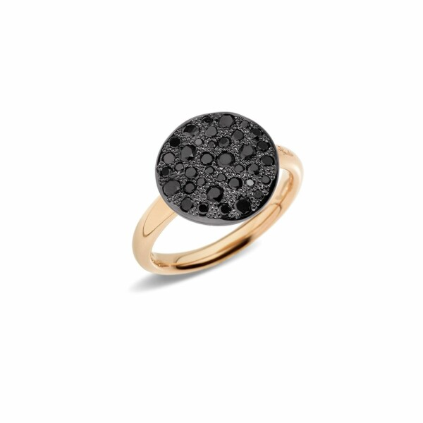 Bague Pomellato Sabbia en or rose et diamants noirs