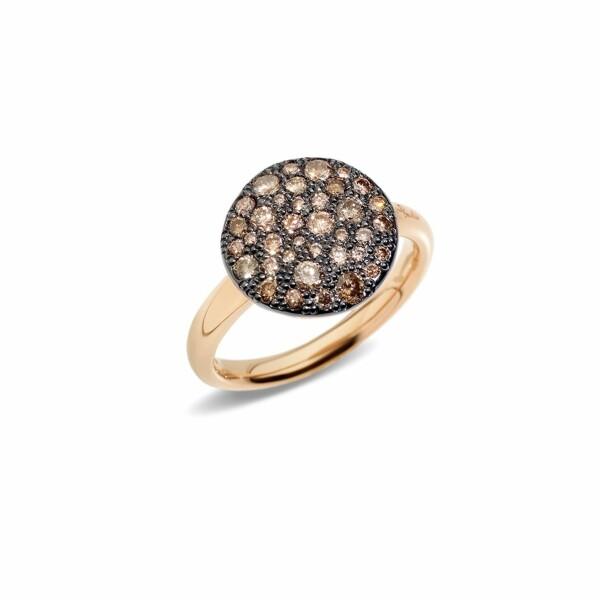 Bague Pomellato Sabbia en or rose et diamants bruns