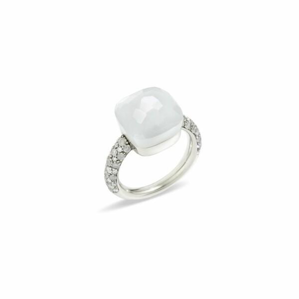 Bague Pomellato Nudo en or blanc, pierre de lune et diamants