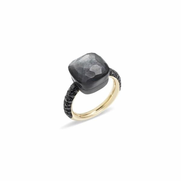 Bague Pomellato Nudo en or rose, titane, pierre de lune grise et diamants noirs